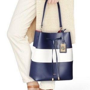 Ralph Lauren Blue White Leather Shoulder Bag Tote